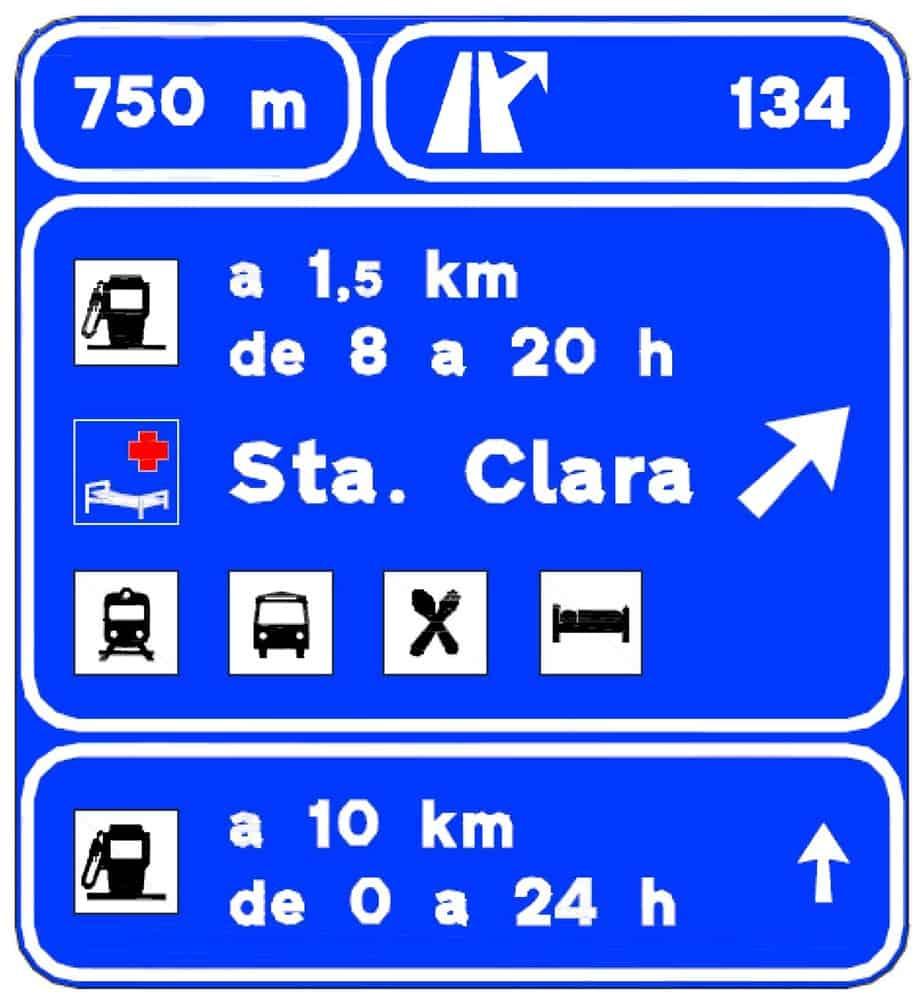 Per le stazioni di servizio all'esterno dell'autostrada sono riportate distanze dallo svincolo ed orari di apertura