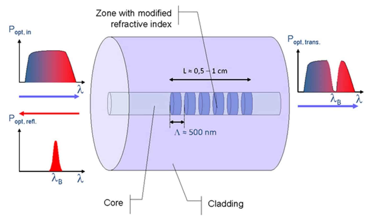 La struttura del singolo sensore FBG