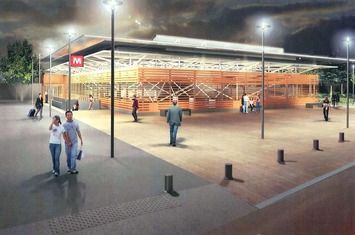 Un rendering (piano strada) della stazione Certosa