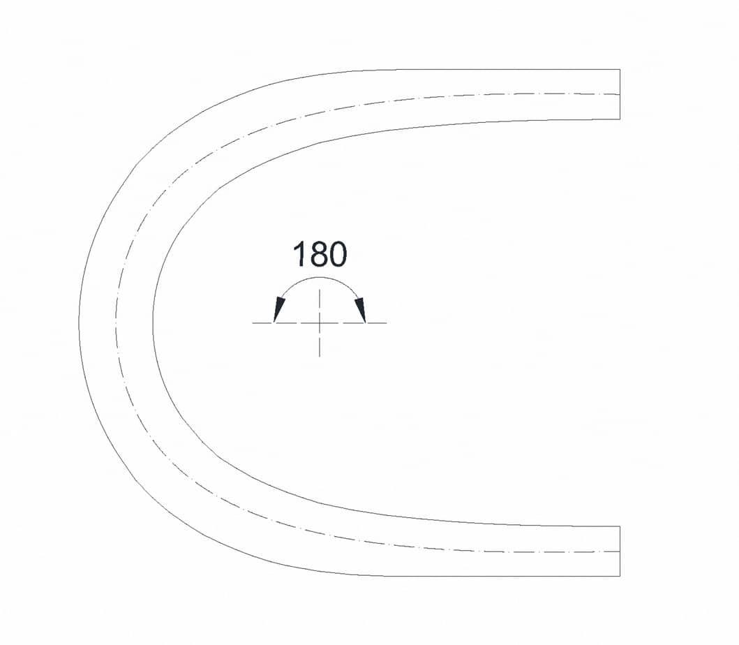Il tornante a unica corsia (b = 3 m, Ri = 10 m, Re = 14,50 m) - caso α = 180°