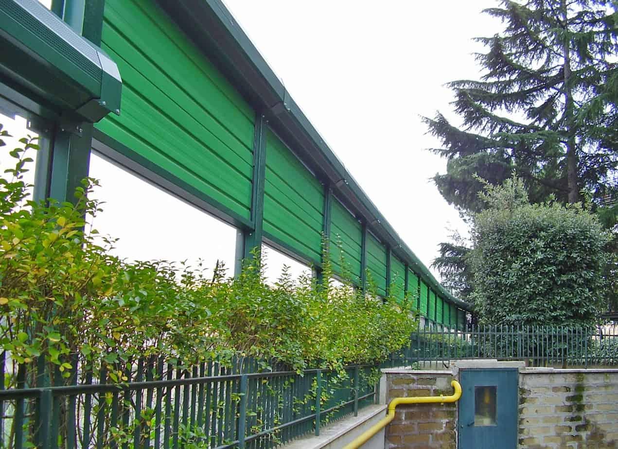 La barriera antirumore in Via Isaac Newton a Milano con riduttore ellittico