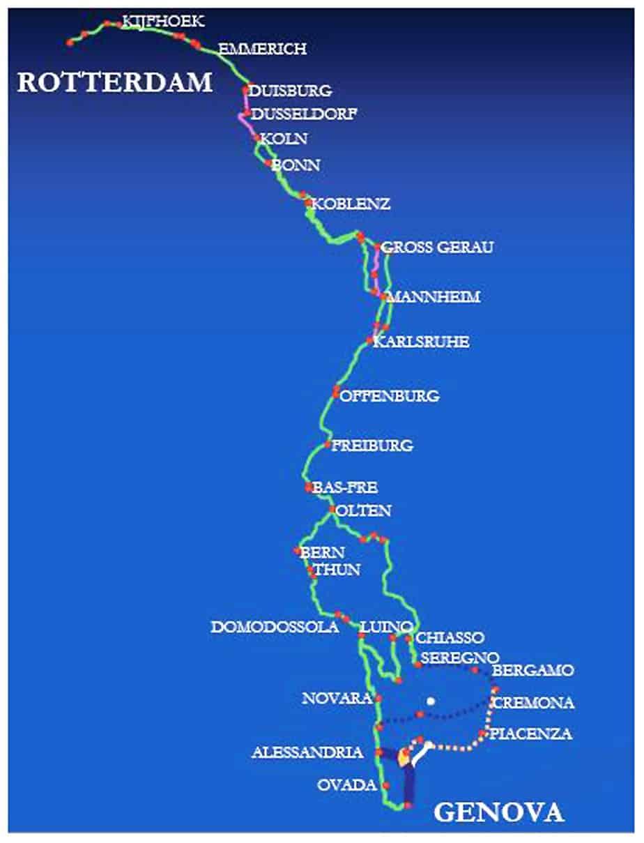 Il tracciato tra Genova e Rotterdam