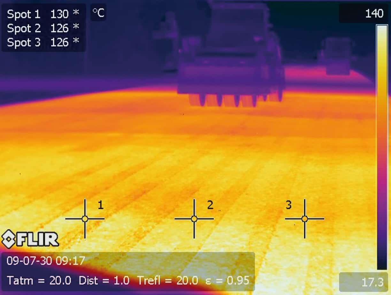 Una stesa eseguita con lo Shuttle Buggy: la stesa continua e il mantenimento della temperatura sono evidenti