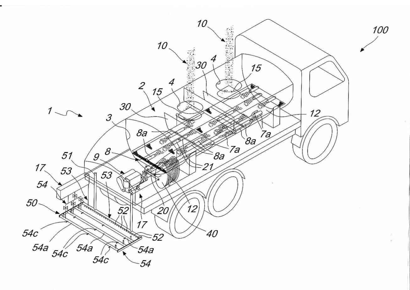 Lo schema, tratto dal brevetto internazionale, relativo all'autocisterna per la produzione e la distribuzione automatica di soluzioni saline calde