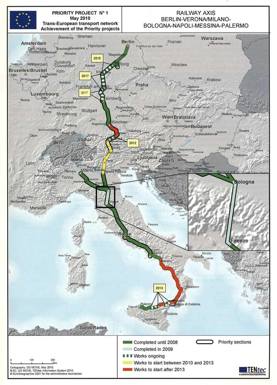L'asse ferroviario Berlino-Verona/Milano-Bologna-Napoli-Messina-Palermo facente parte del Progetto Prioritario n° 1 (al Maggio 2010)
