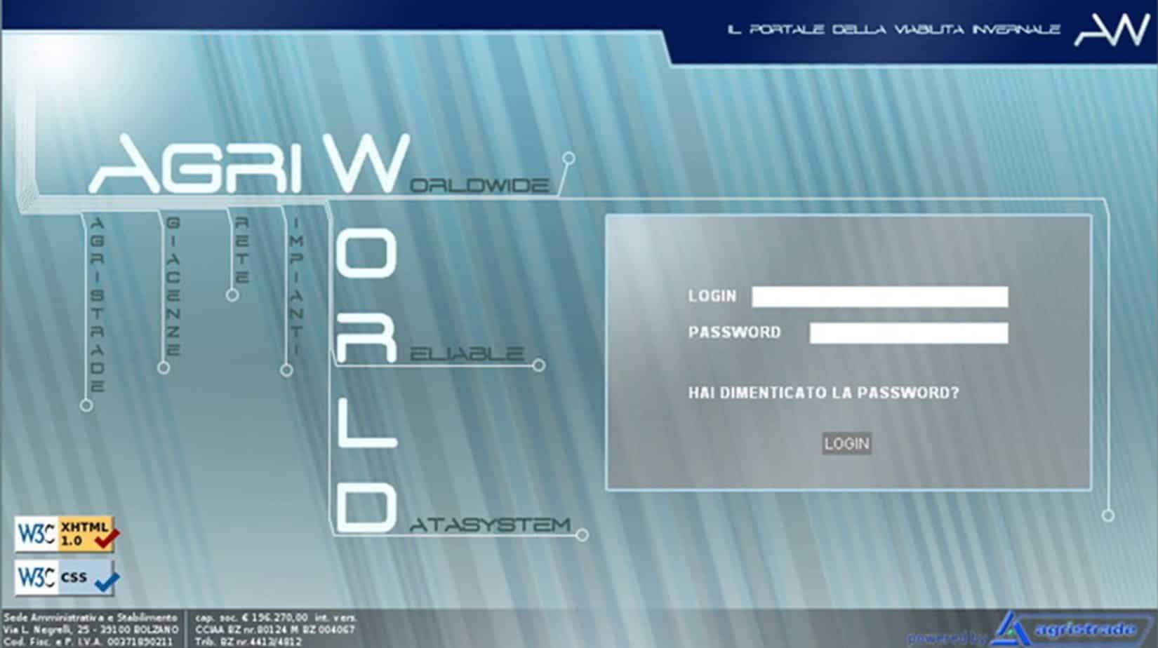 La pagina di accesso al portale Agriworld