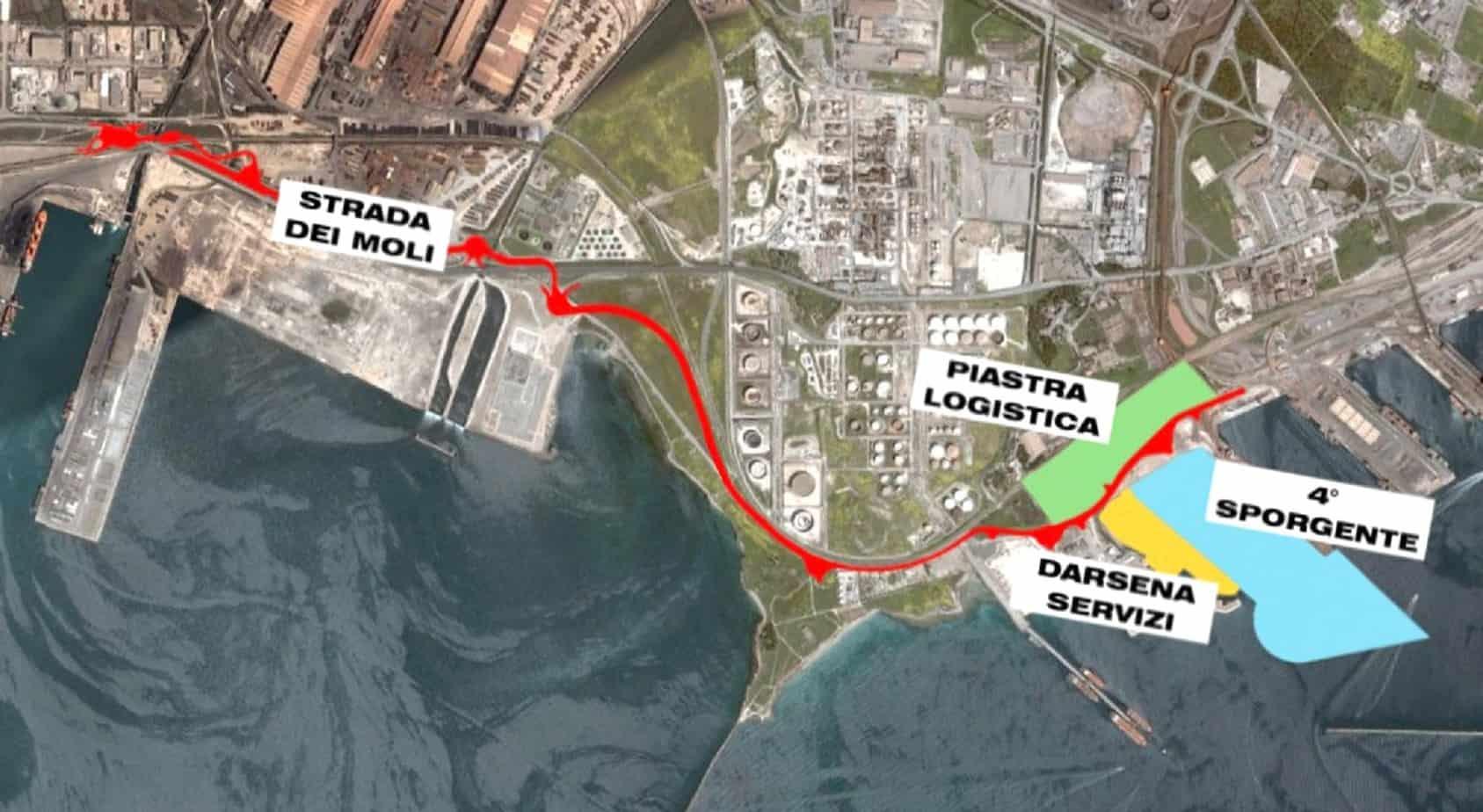 L'ubicazione delle opere che verranno realizzate al porto di Taranto