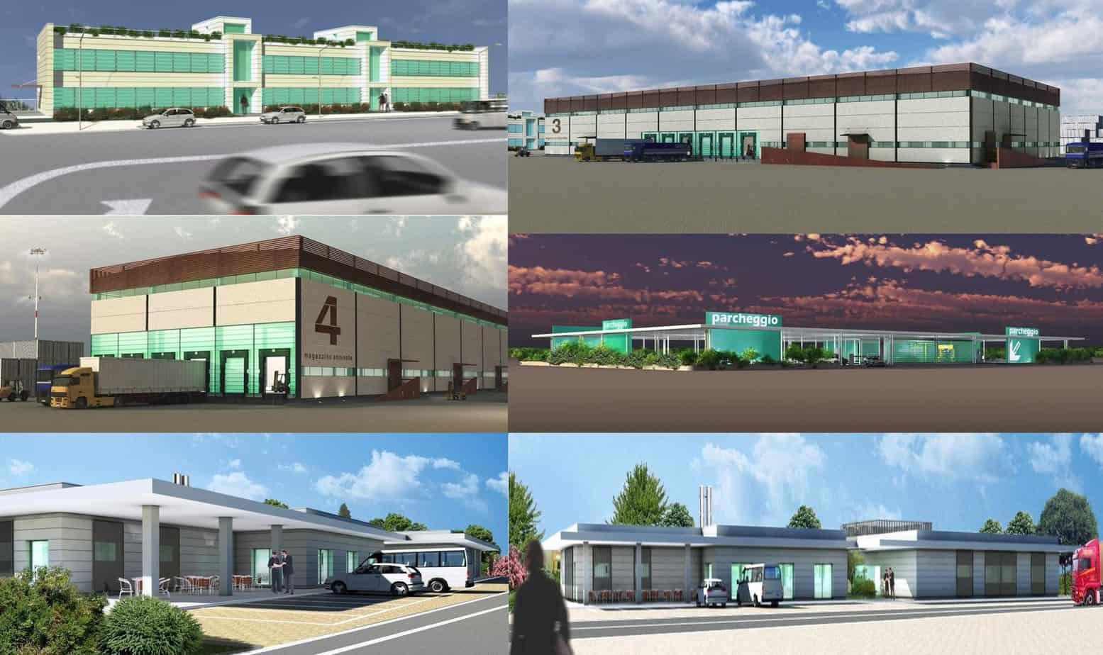 I rendering della piattaforma logistica e dei relativi edifici