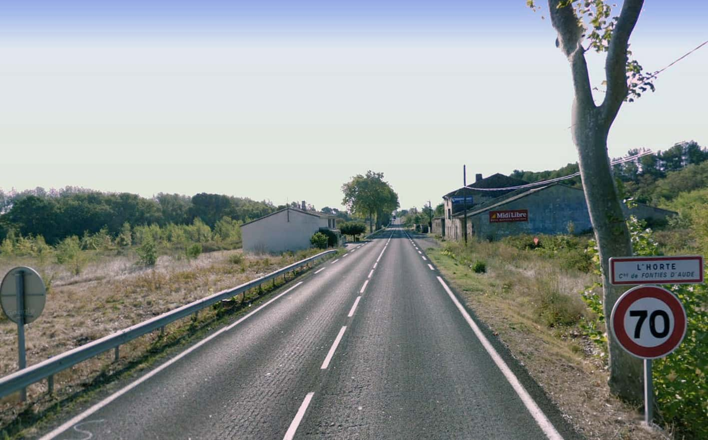 La strada dipartimentale 6113 nella località L'Horte a Trébes (Languedoc-Roussilion), ove spesso si registrano incidenti