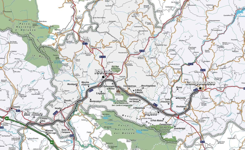 La corografia del collegamento tra San Vittore, Isernia e Campobasso