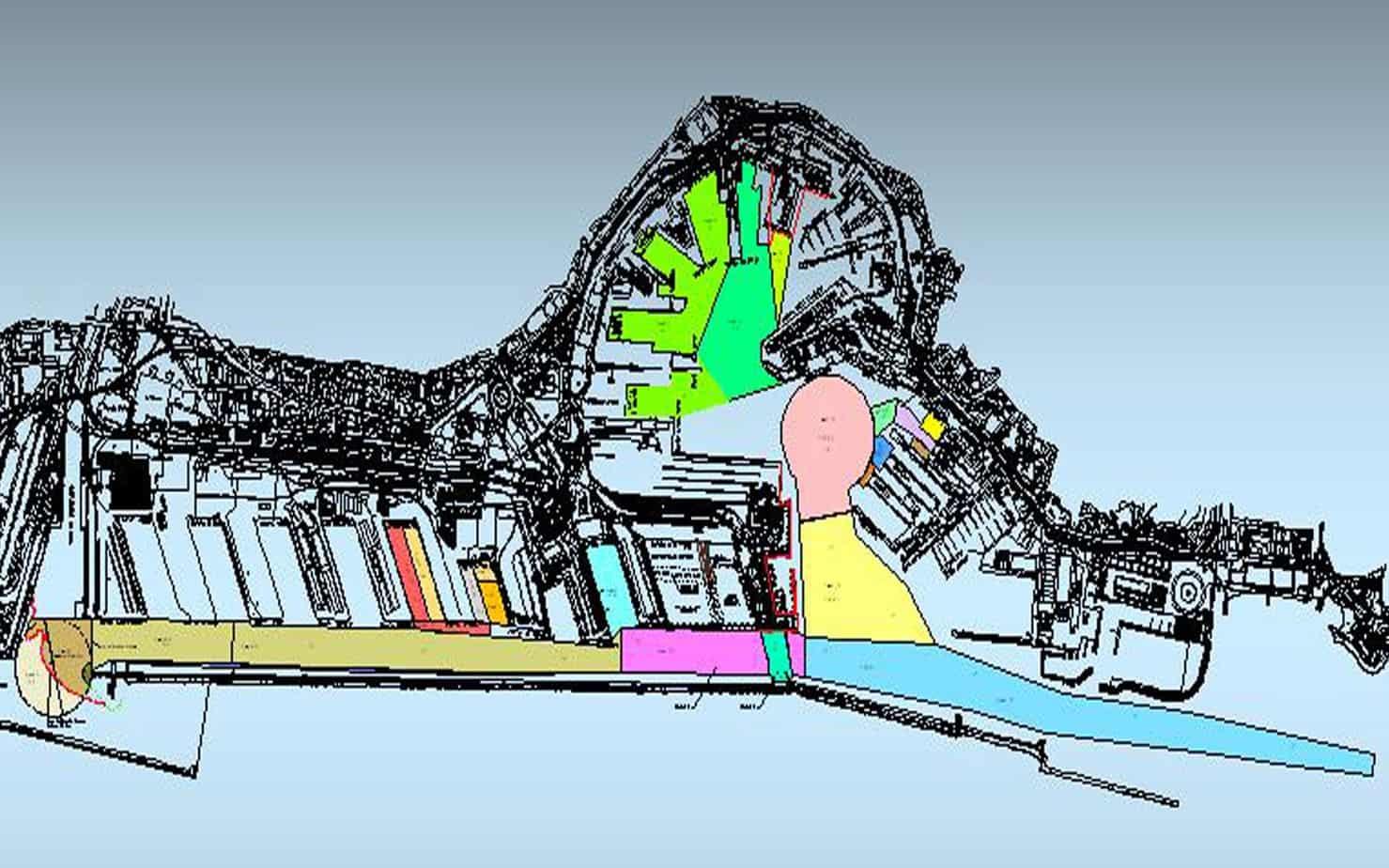 Lo stato di progetto dell'area centro-Levante: il volume complessivo da dragare: 2.200.000 m3