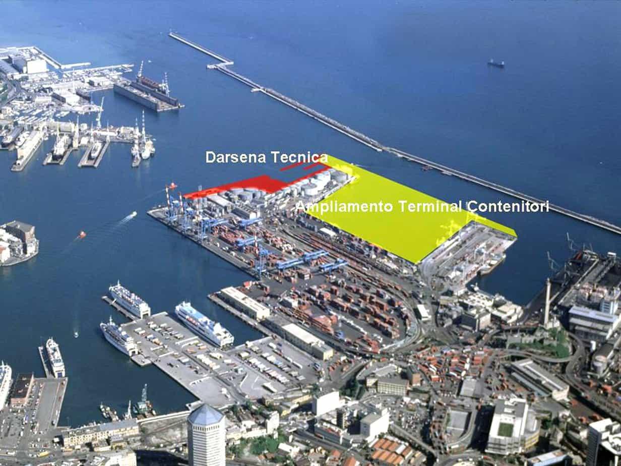 Il fotoinserimento in cui si evidenzia l'ampliamento del Terminal Contenitori