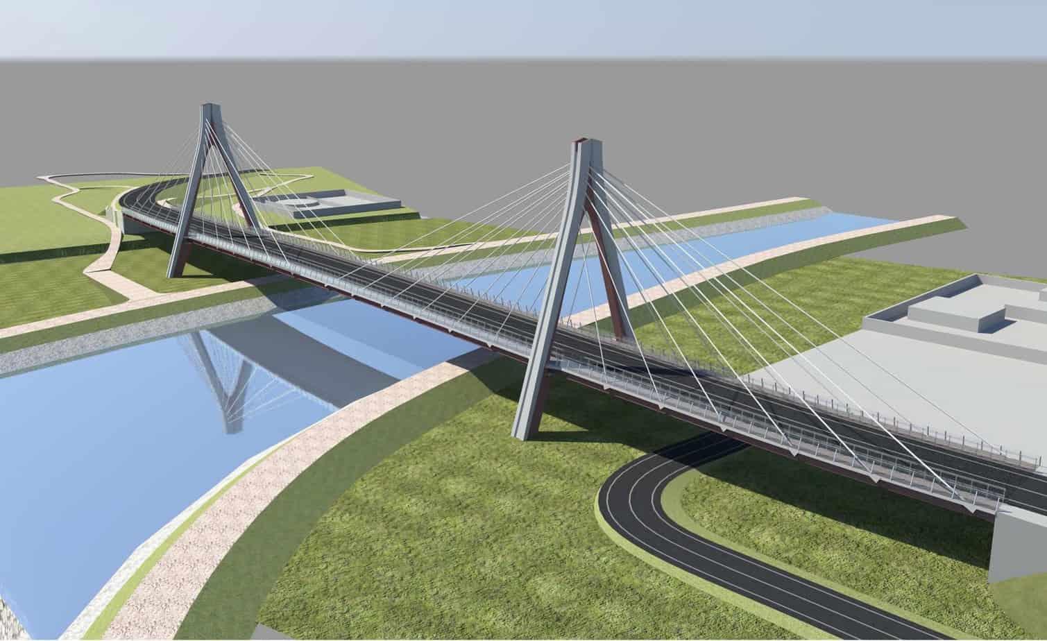 Un rendering del nuovo ponte strallato di Ostellato