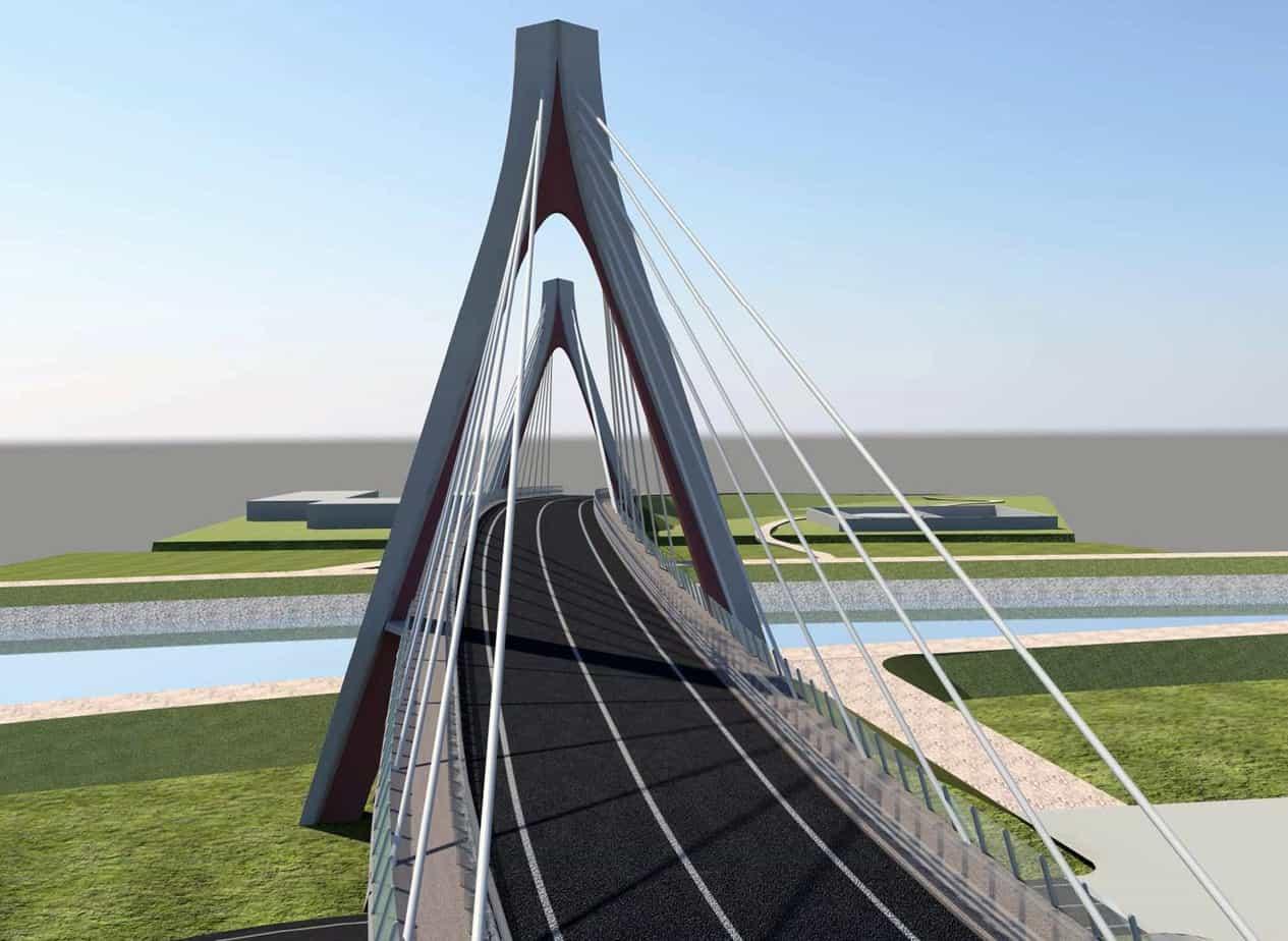 Un rendering frontale del nuovo ponte