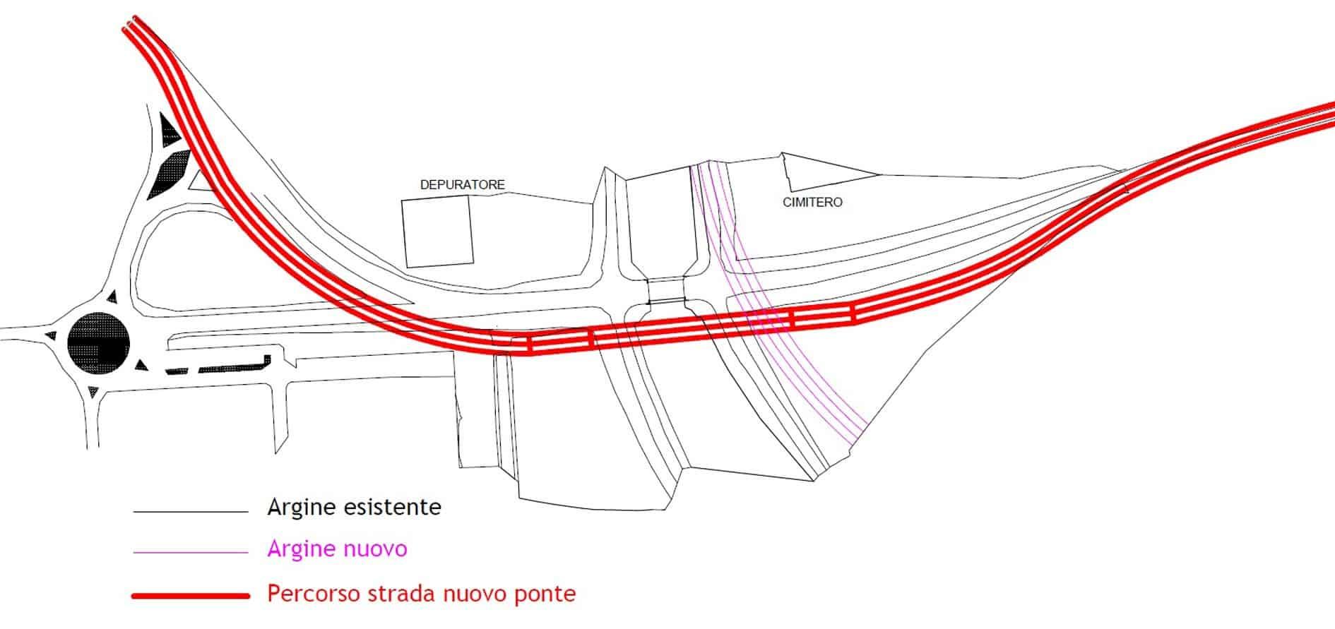 Il tracciato del nuovo percorso stradale