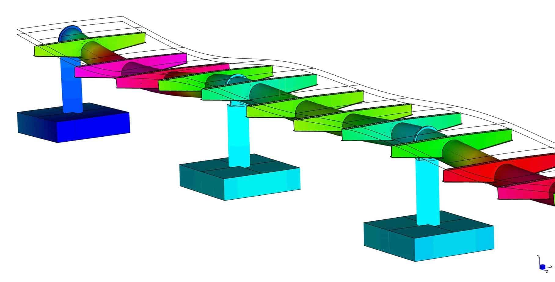 Il modello tridimensionale della passerella