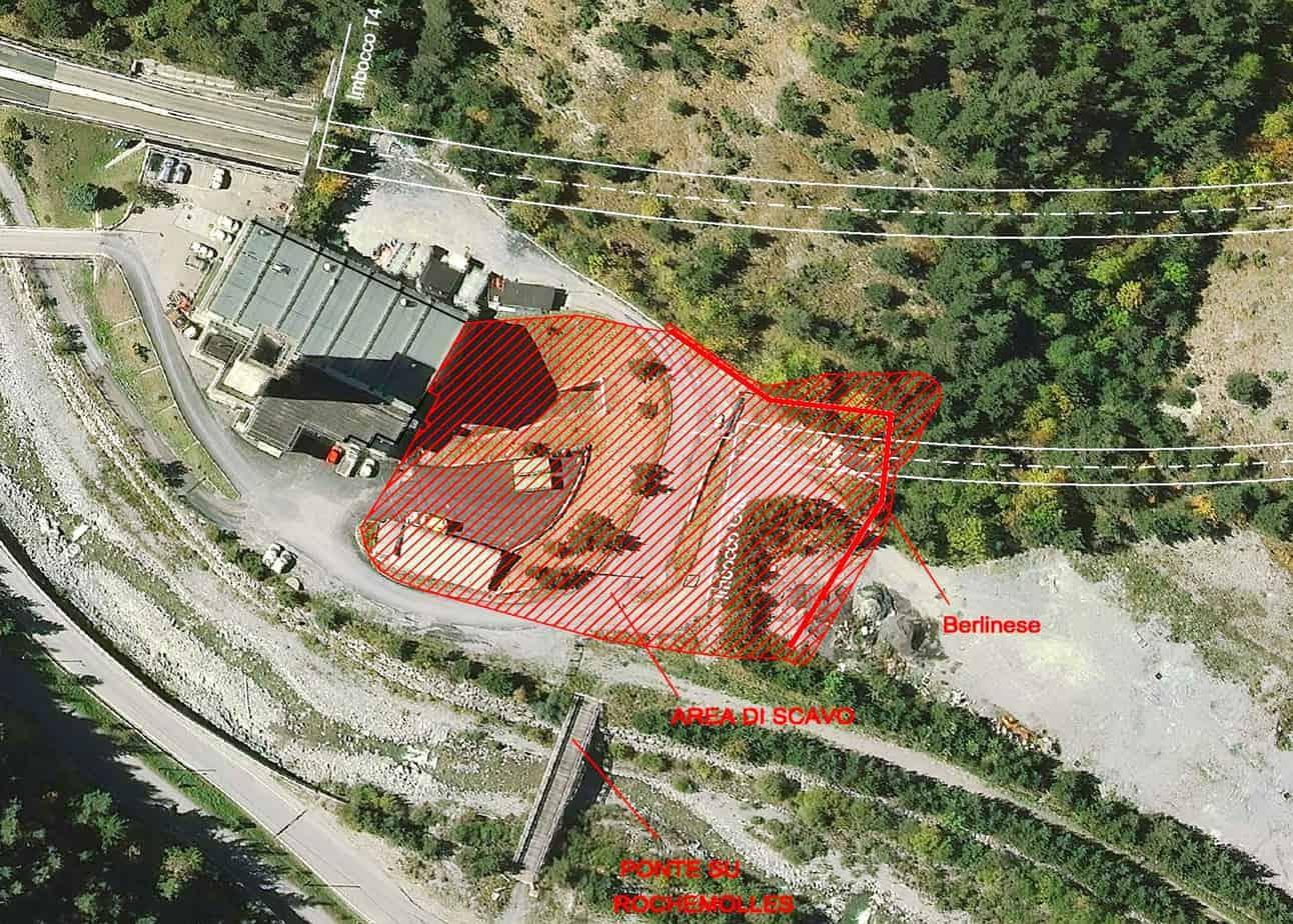 L'area dell'imbocco della nuova galleria lato Italia