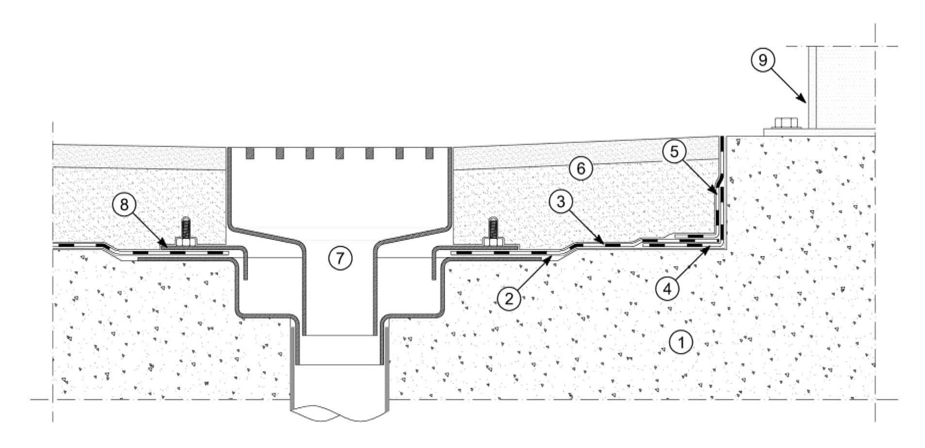 Il dettaglio della bocchetta di scarico:  supporto-soletta in cemento armato; primer bituminoso Polyprimer HP 45 Professional o Idroprimer o primer epossidico Epoxy Primer; membrana impermeabilizzante per ponti Polyglass, (tipo Polybond HP, Polyflex HP, Elastoflex HP, Evolight HP o Polyflex Light HP); membrana impermeabilizzante di rinforzo Polyglass; risvolto verticale con membrana impermeabilizzante per ponti Polyglass; pavimentazione-binder stradale e strato di usura come da progetto; bocchetta di scarico per ponti secondo la Norma UNI EN 124; flangia superiore della bocchetta di scarico; guard rail