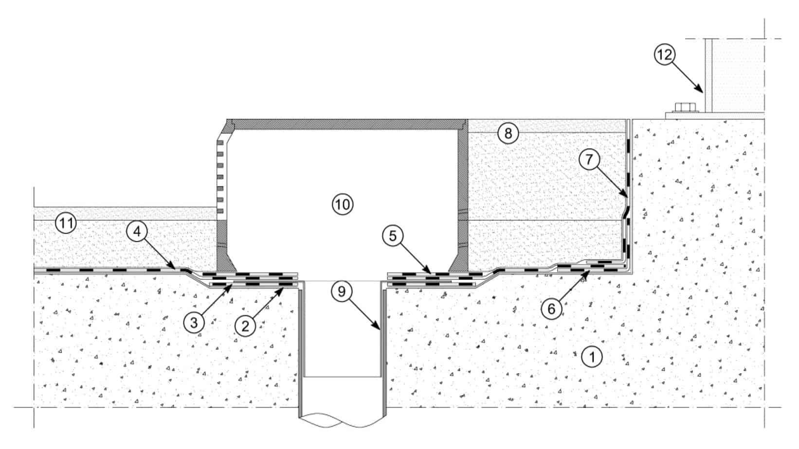 """Il dettaglio dello scarico a bocca di lupo:  supportosoletta in cemento armato; primer bituminoso Polyprimer HP 45 Professional o Idroprimer o primer epossidico Epoxy Primer; membrana impermeabile sotto bocchetta Polyglass (delle dimensioni di 50x50 cm); membrana impermeabilizzante per ponti Polyglass (tipo Polybond HP, Polyflex HP, Elastoflex HP, Evolight HP o Polyflex Light HP); membrane permeabilizzante di protezione Polyglass; membrana impermeabilizzante di rinforzo Polyglass; risvolto verticale con membrana impermeabilizzante per ponti Polyglass; marciapiede; bocchetta di scarico; pozzetto di scarico a """"bocca di lupo""""; pavimentazione-binder stradale e strato di usura come da progetto; guard rail"""