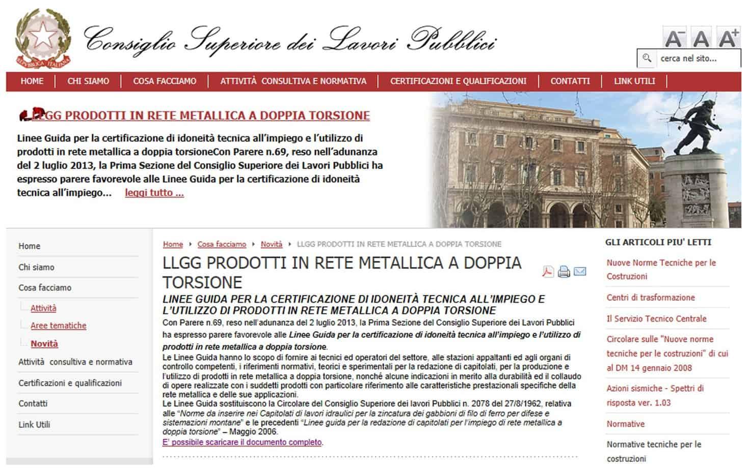 Una schermata del sito web C.S.LL.PP