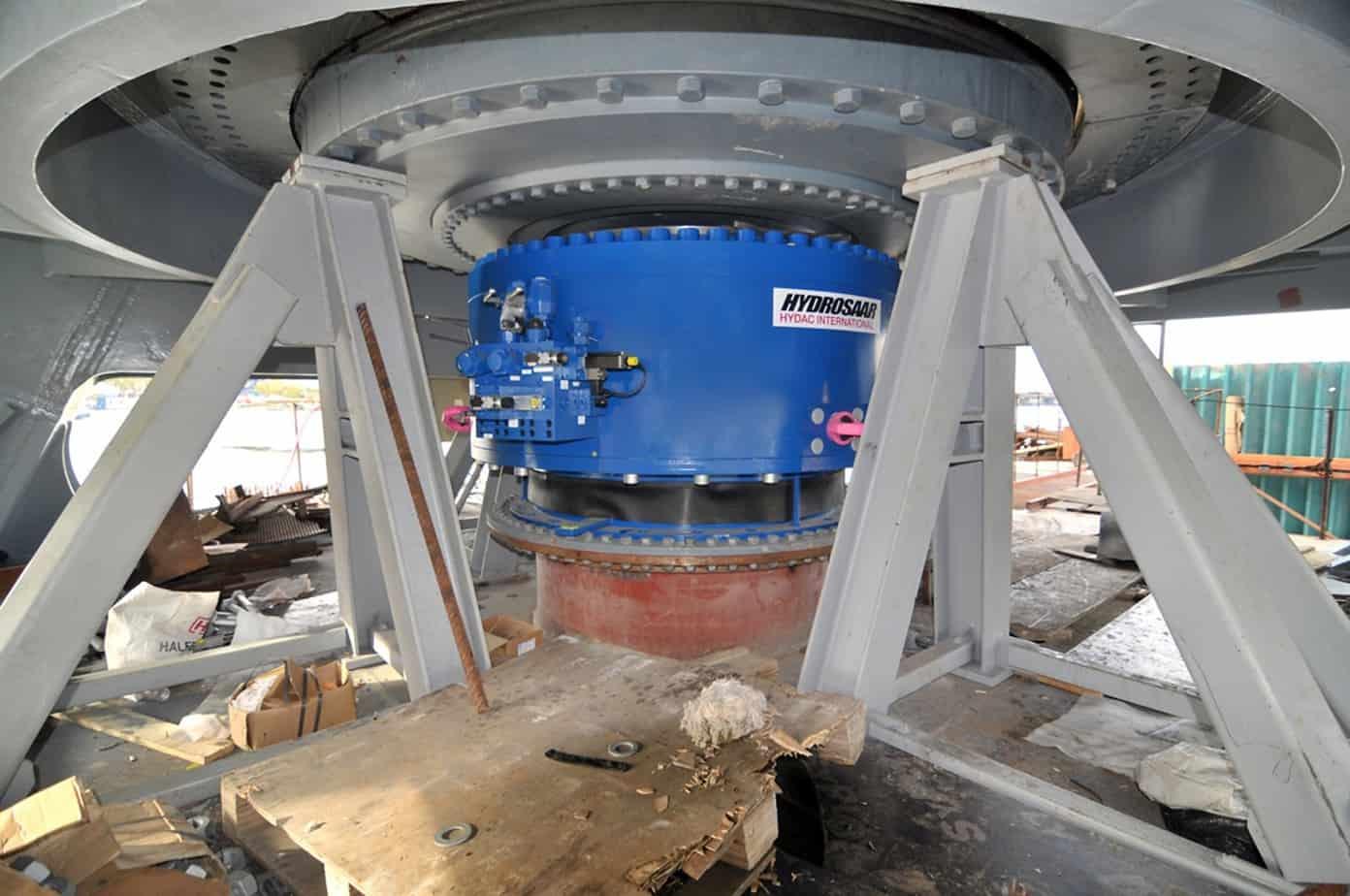 Un particolare del meccanismo del ponte girevole