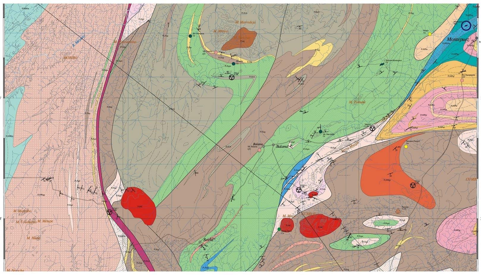 La carta geologica del progetto Montepuez-Ruaca Road