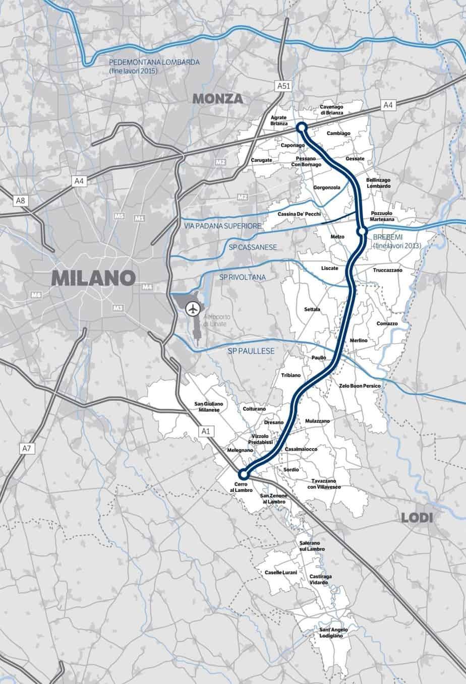 Il tracciato della Tangenziale Est Esterna di Milano