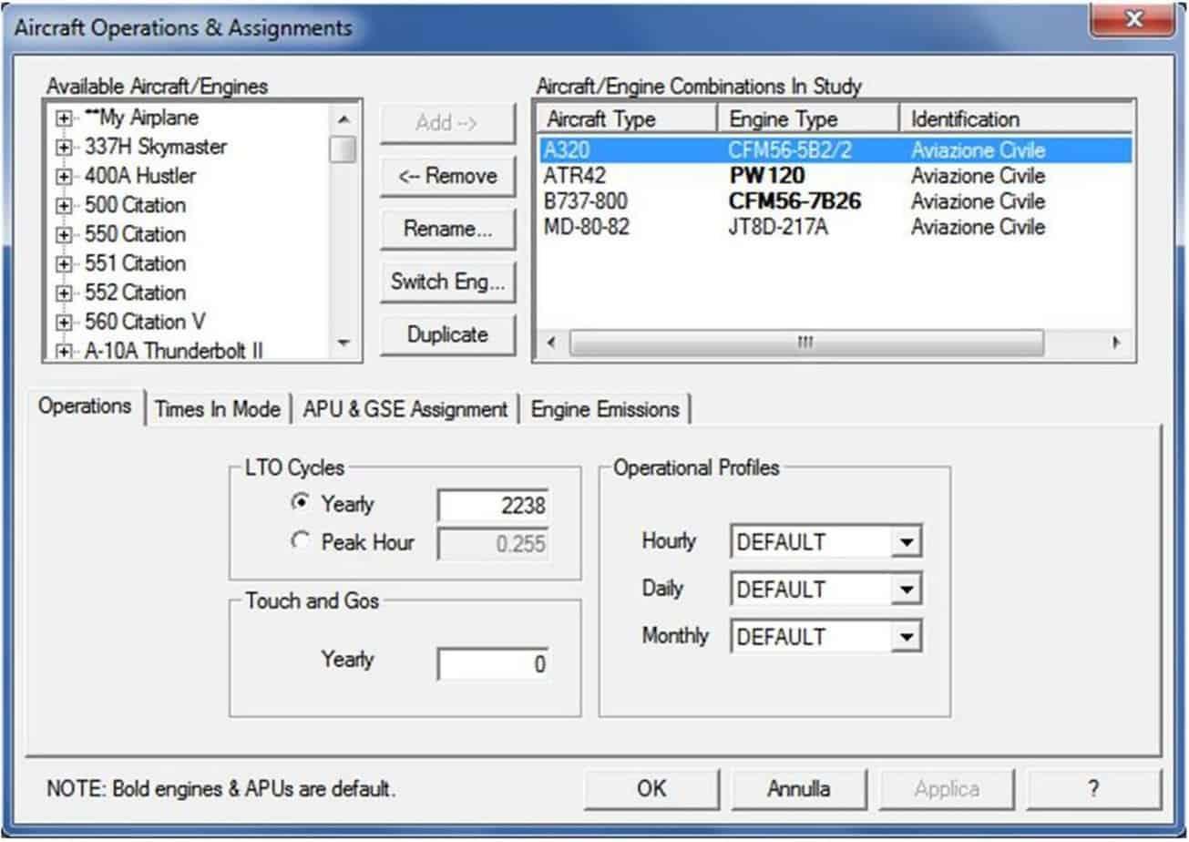 """L'EDMS Screenshot, """"Aircraft & Assignment"""" e """"LTO Cycles"""""""