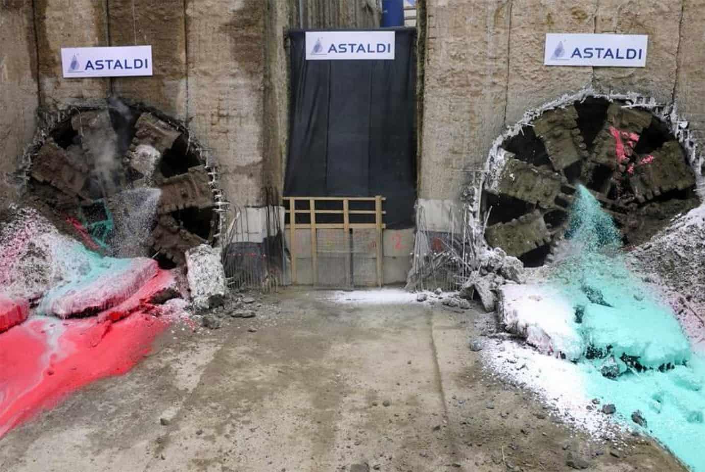 La foratura contemporanea delle due TBM presso Pozzo Parco il 26 Marzo 2013