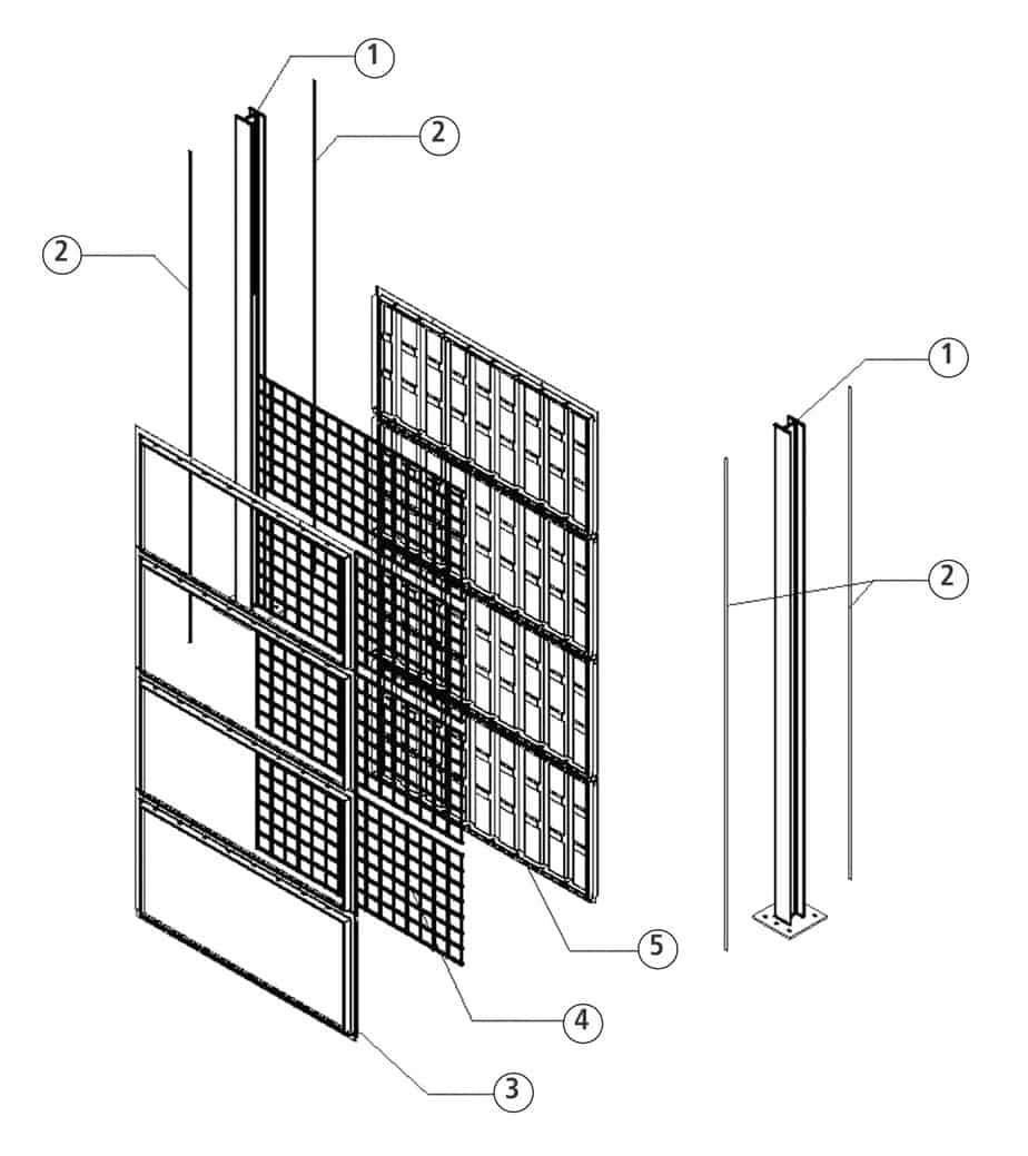 La sezione della barriera Green Sonic monofacciale: 1. montante; 2. guarnizione; 3. fronte pannello; 4. chiusura pannello con rete metallica; 5. retro pannello