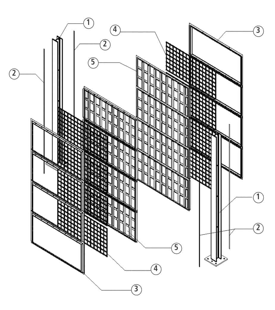 La sezione della barriera Green Sonic bifacciale: 1. montante; 2. guarnizione; 3. fronte pannello; 4. chiusura pannello con rete metallica; 5. retro pannello