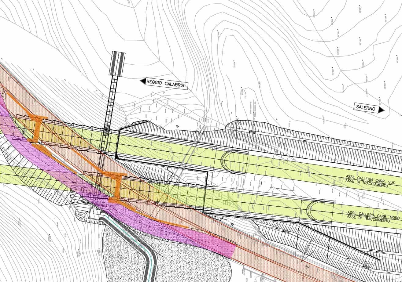 La pianta progettuale dell'area dell'imbocco Nord della galleria Fontanelle: in verde la costruenda autostrada, in rosso quella esistente da sottoattraversare, in arancione i setti in jet-grouting creati per interrompere i bacini di subsidenza