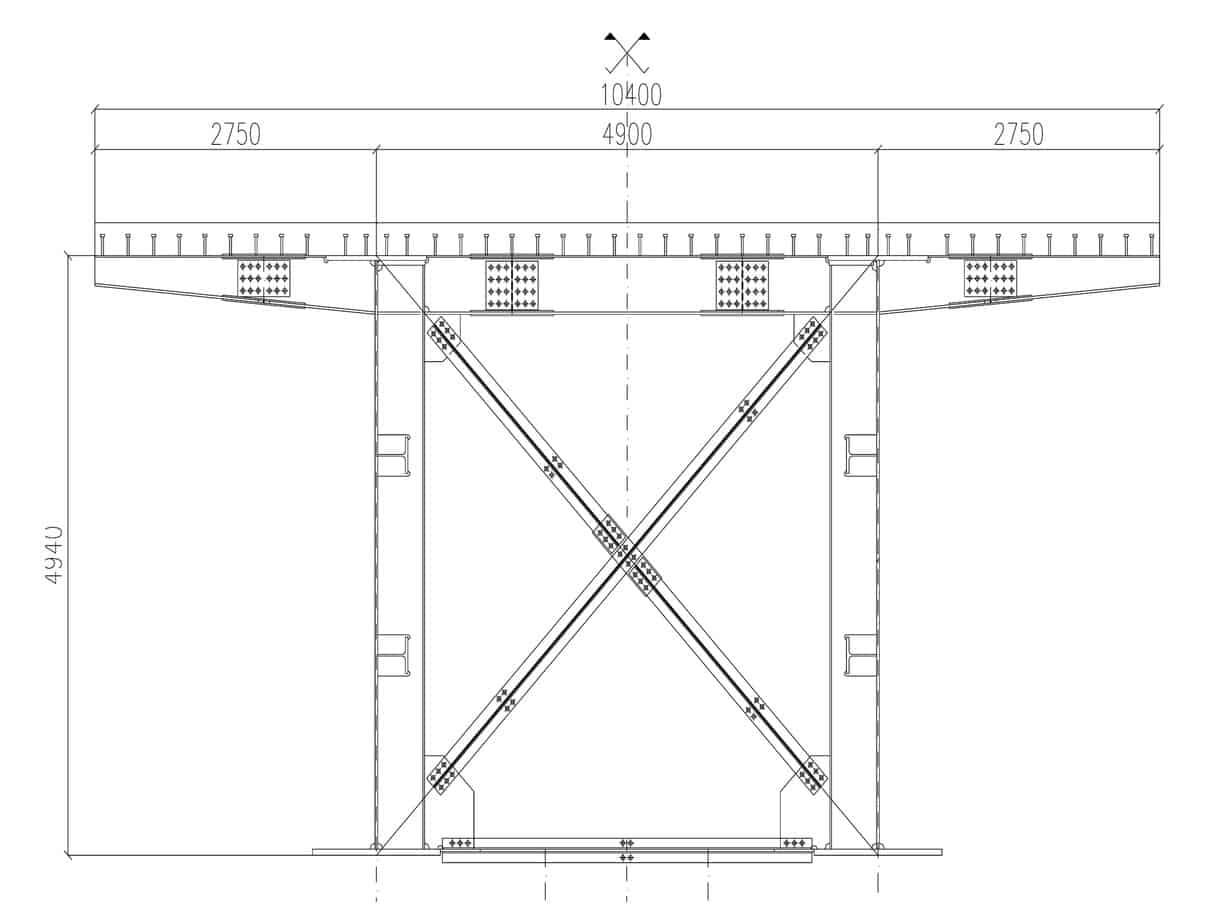 La sezione trasversale dell'impalcato