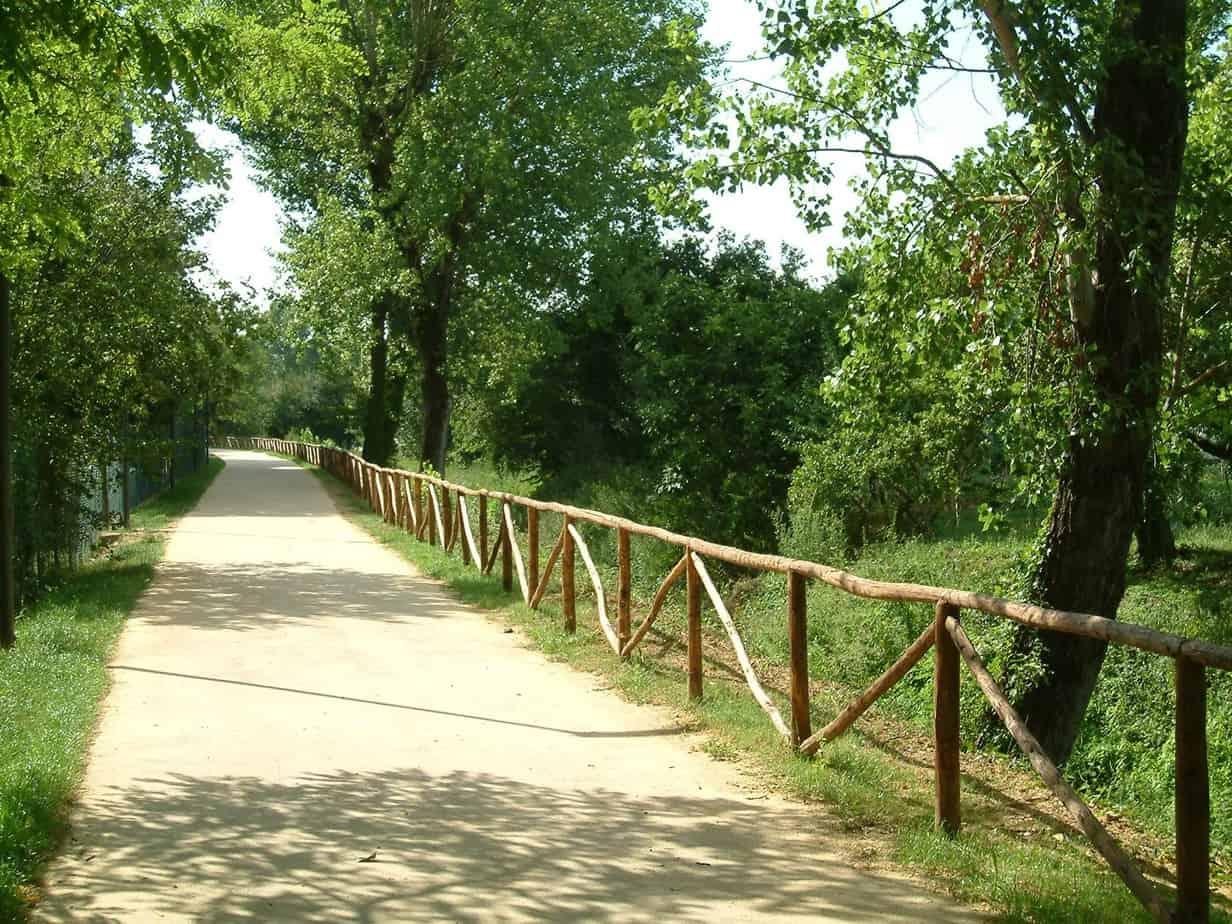 Una pista ciclabile in un parco urbano in cui è stato utilizzato il Soil Sement mediante posa con vibrofinitrice