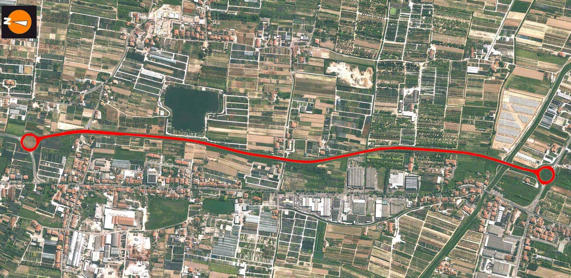 """La variante alla S.P. n° 9 """"Montalbano"""" nella provincia di Pistoia nel tratto tra Casenuove di Masiano (Nord) e Ponte Stella (Sud)"""