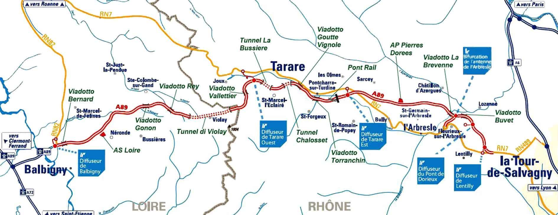 Il tratto recentemente aperto al traffico della A89, che dopo un percorso di 474 km e dopo essersi interconnessa con le Autostrade A20, A71, A710w, A711 e A72, attualmente si attesta a una decina di chilometri dalla A6