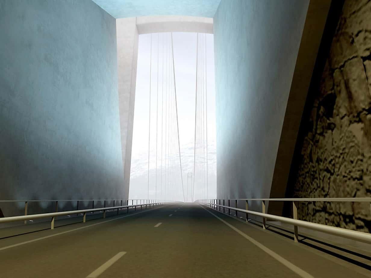 Il tunnel di Vallavik, a 138, 105 e 70 m dal portale meridionale. Si apprezza la soluzione studiata per migliorare la vista prospettica del ponte. Sulla sinistra si nota l'accesso al tunnel ciclopedonale
