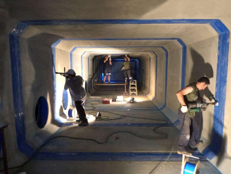 La squadra dei saldatori specializzati della Coprem Servizi: in cinque giornate sono stati effettuati 500 ml di saldature ad estrusione con la verifica finale tramite lo scintillografo