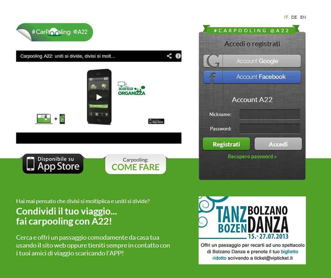 Il layout dell'home page del sito Web carpooling A22