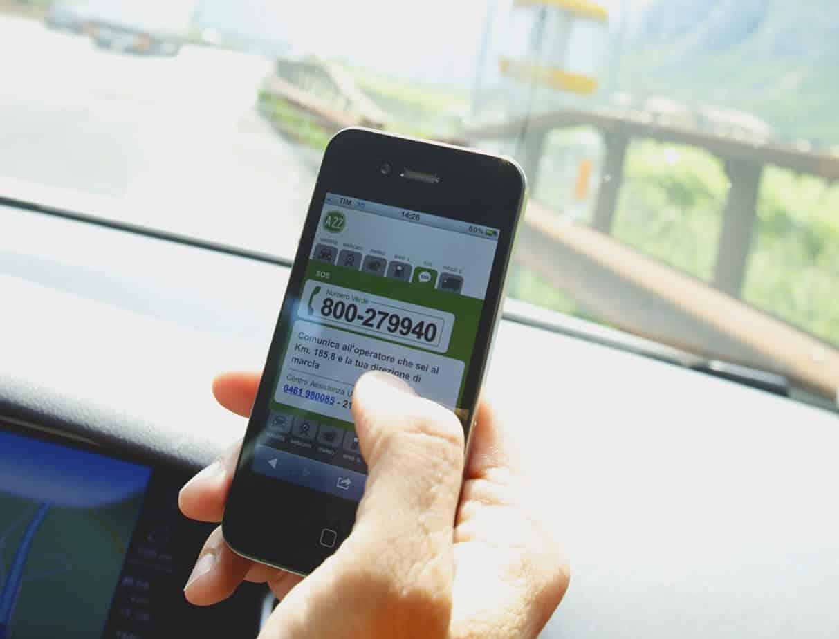 Il servizio di emergenza sull'App Travel Assistant di A22