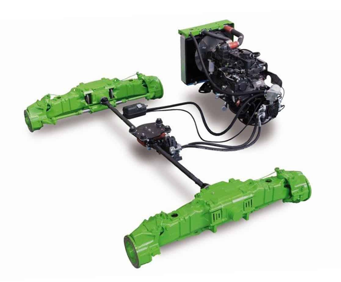 Motore, trasmissione idraulica e assali 4RM permanenti contribuiscono ad ottenere prestazioni senza compromessi