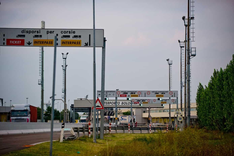L'ingresso dell'interporto di Bologna A13 Bologna-Padova