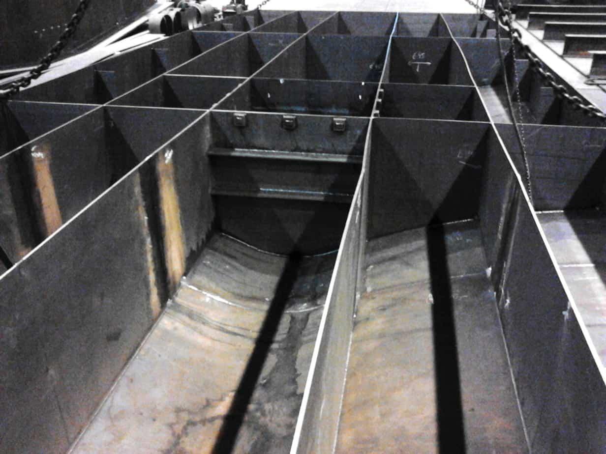 Una vista dell'interno del cassone