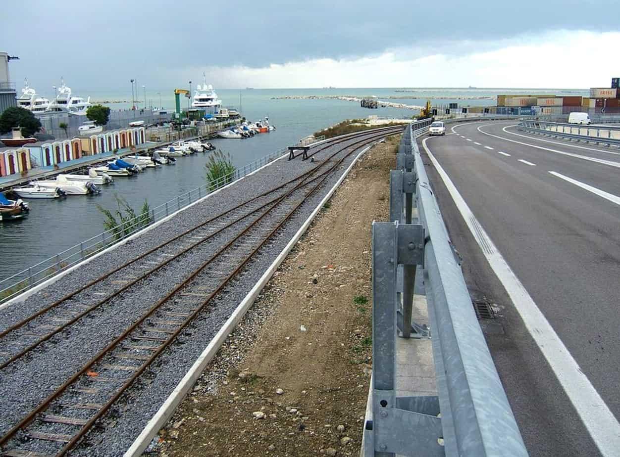 Gli attuali collegamenti stradali e ferroviari al porto di Ancona