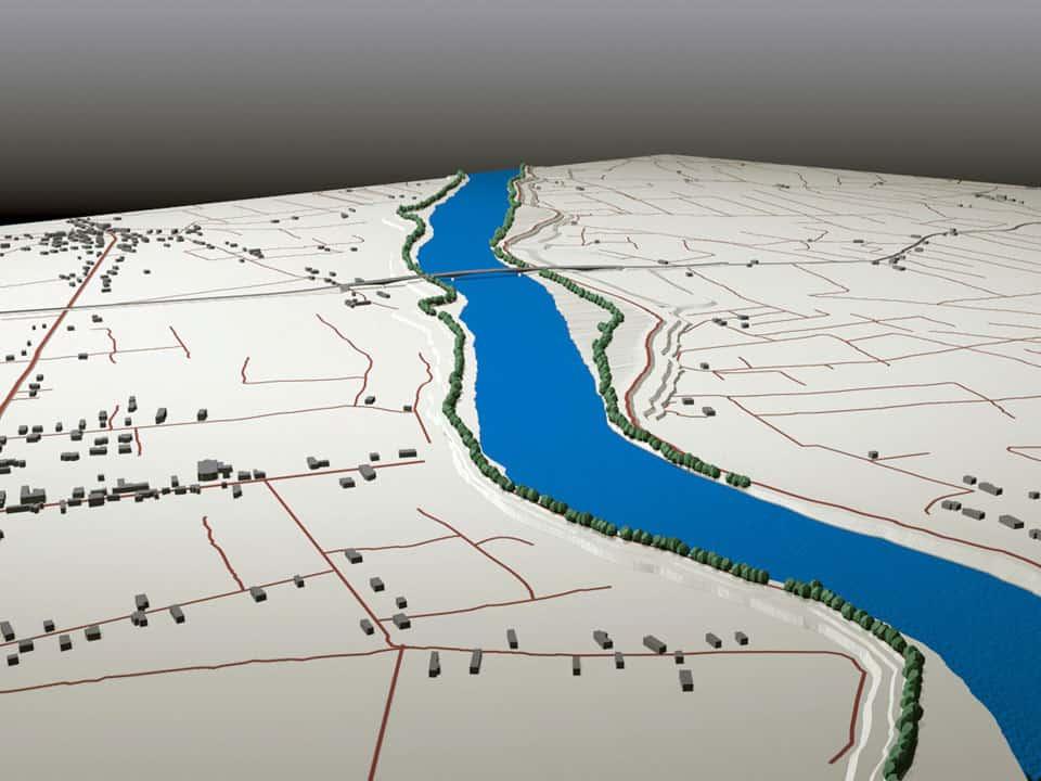 Il rendering con vista a volo d'uccello del nuovo attraversamento sul fiume Adige