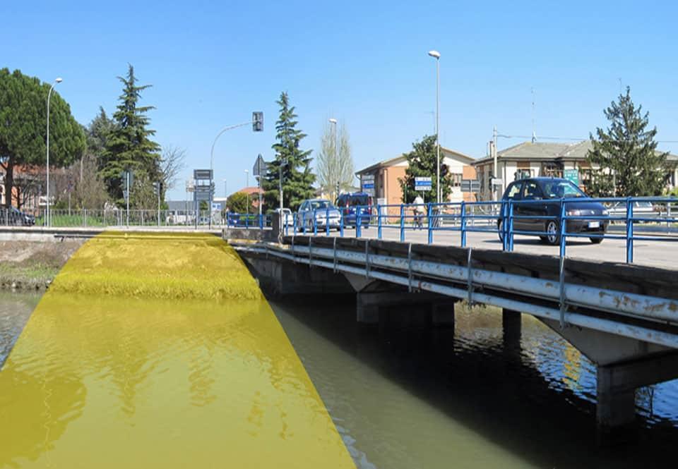 Il posizionamento della nuova passerella ciclopedonale rispetto al ponte carrabile esistente