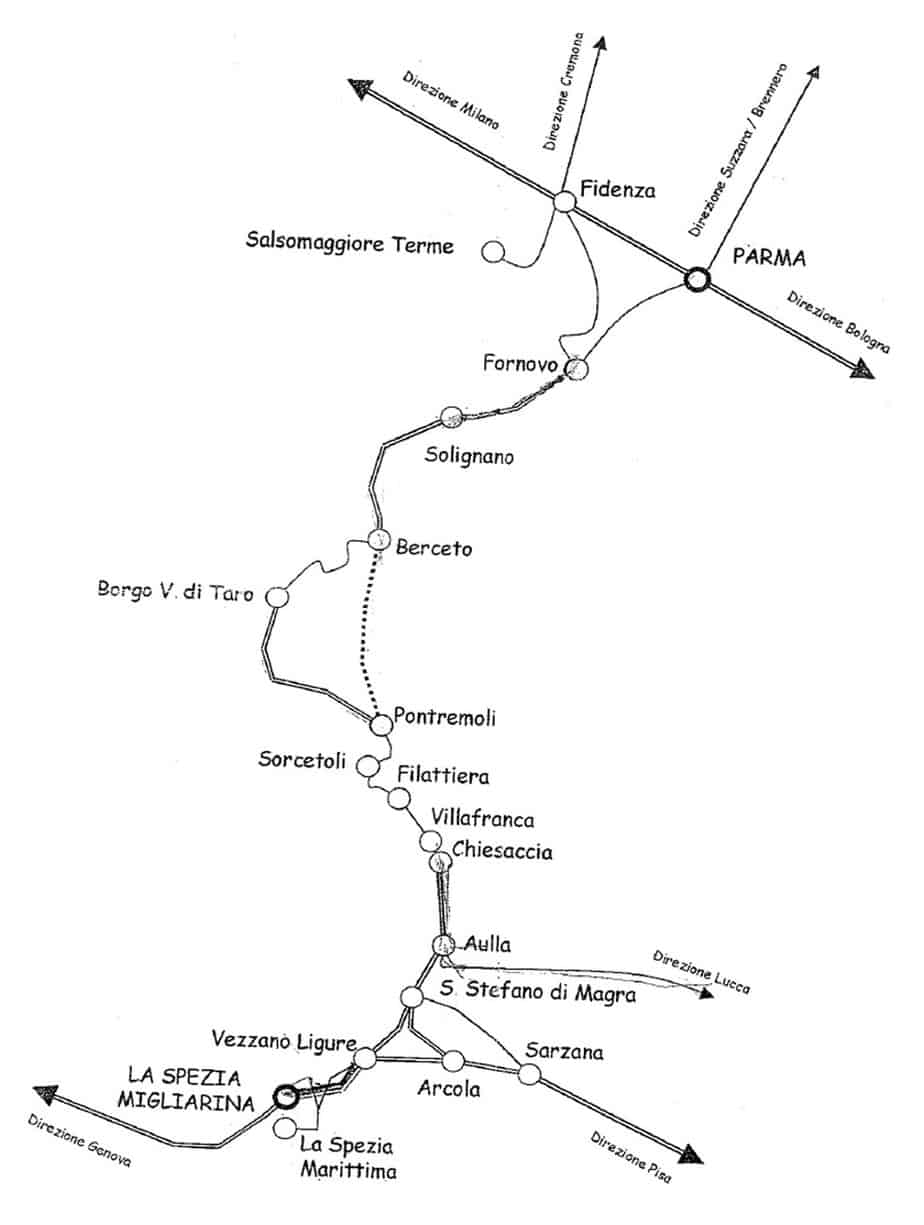 Il tracciato della linea Pontremolese