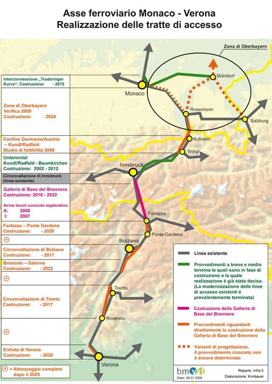 L'asse ferroviario Monaco-Verona. Realizzazione delle tratte di accesso