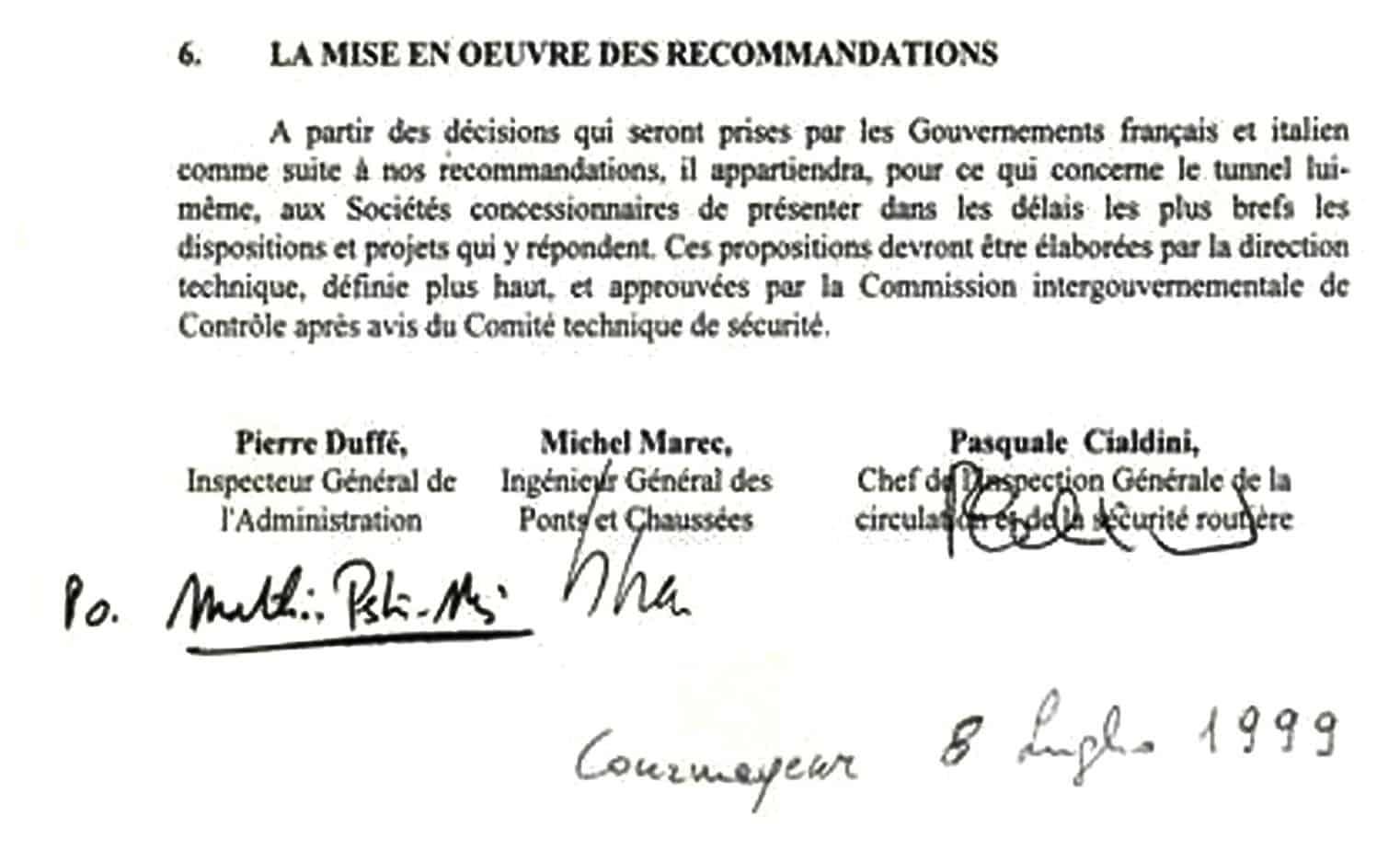 L'ultima pagina del Rapporto Comune della Commissione amministrativa di inchiesta italo-francese Cialdini-Marec sulla catastrofe del 24 Marzo 1999 nel Traforo del Monte Bianco