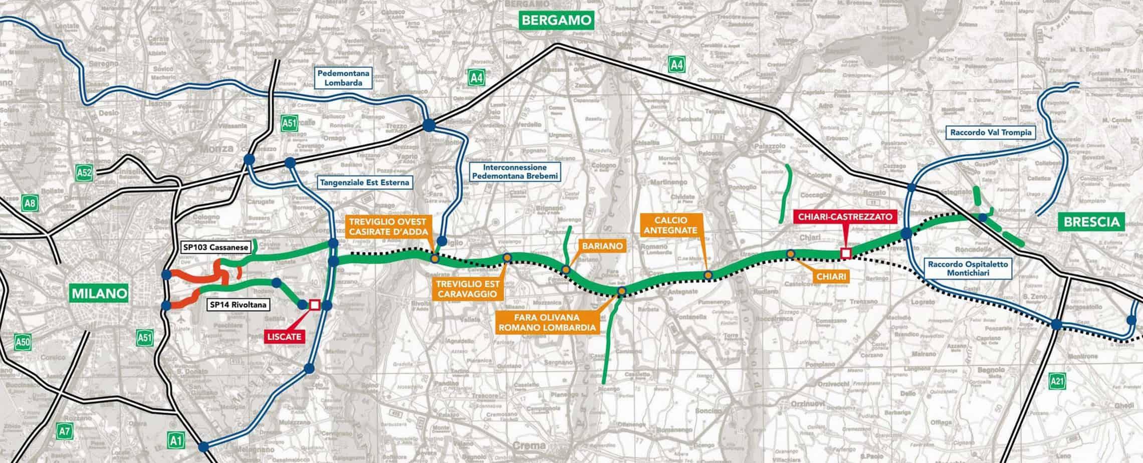 La corografia del tracciato Brebemi (collegamento autostradale diretto Brescia-Milano)